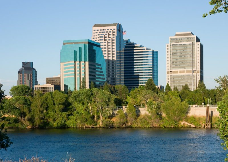 View of Sacramento Downtown Buildings Across the Sacramento River